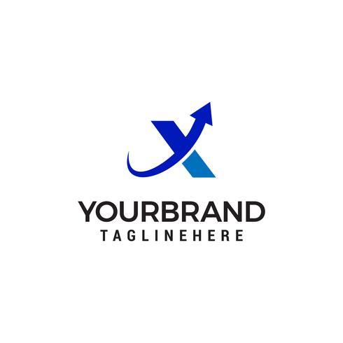 Carta X seta para cima modelo de design de logotipo