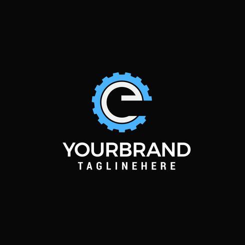 Gear Logo Letter E design template vector