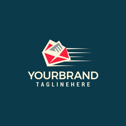Quick mail logo template design vector