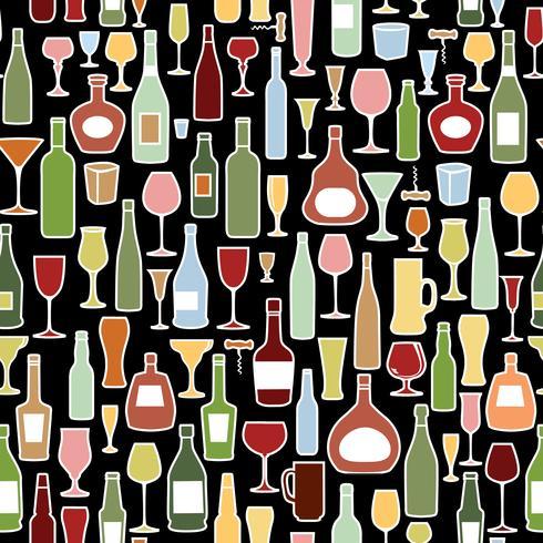 Wine bottle, wine glass tile pattern. Drink wine party background vector