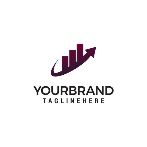 Rise up building real estate chart logo design template vector