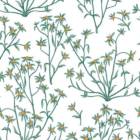 Floral seamless pattern. Flower background. Flourish wallpaper with berries and flowers. vector