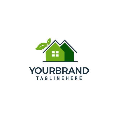 Plantilla de logotipo de hoja y casa verde vector