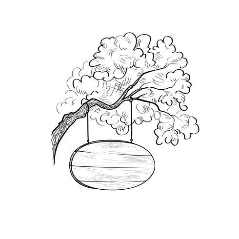 Skylt på trädgren Doodle trä tecken. Plankskylt