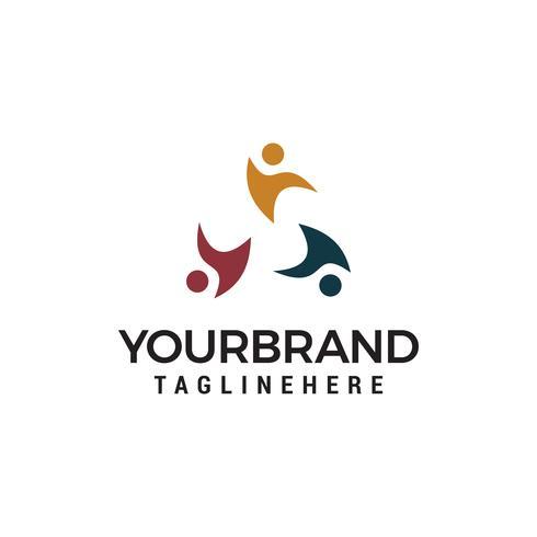 Disegno del modello del logo della comunità di relazione sociale vettore