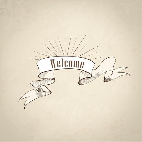 Segno di benvenuto sopra il nastro, sfondo retrò. Banner vintage doodle