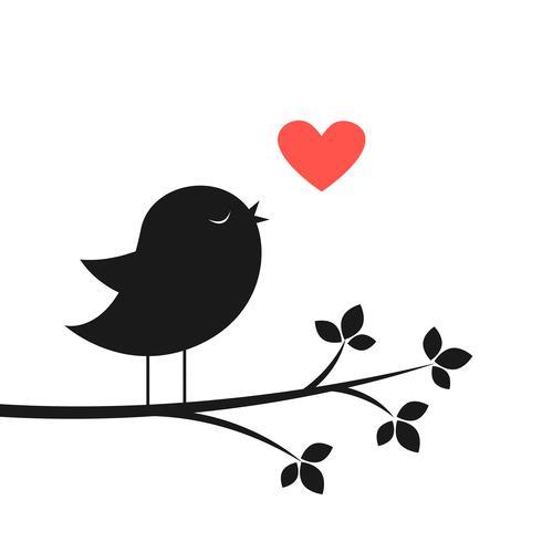 Schattenbild des netten Vogels und des roten Herzens
