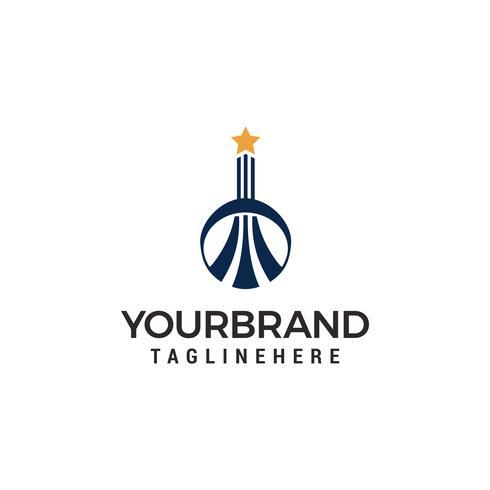 Logotipo de construção com estrela no topo Vetor de modelo de logotipo