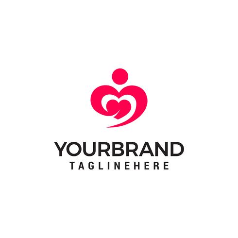 Hugging heart symbol, hug and love yourself logo design template
