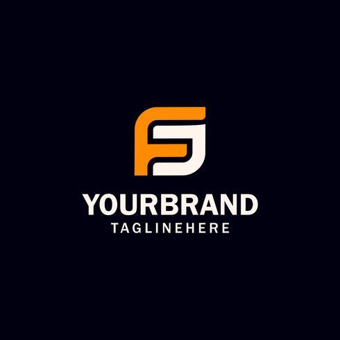 diseño inicial del logotipo de la letra FS o SF vector