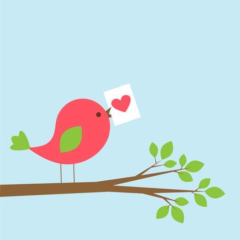 Oiseau mignon avec carte de Saint Valentin sur une branche vecteur
