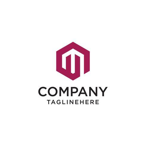 Abstrakt bokstav M logo design mall. Kreativ hexagon tecken ma