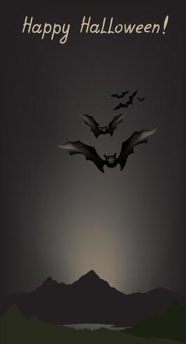 Sfondo di cartolina d'auguri di Halloween. Paesaggio di vacanza vettore