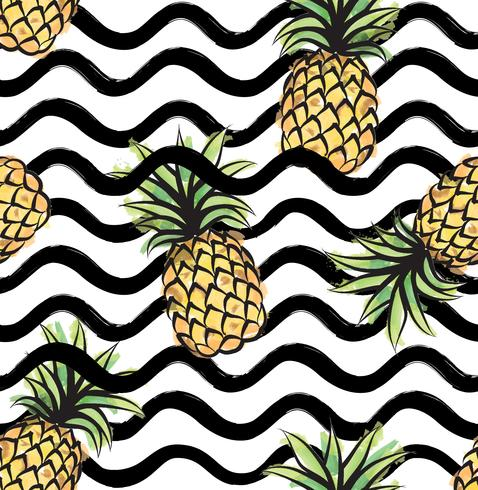 Abstrakt våg sömlöst mönster med ananas. Tropisk mat stripe konsistens vektor