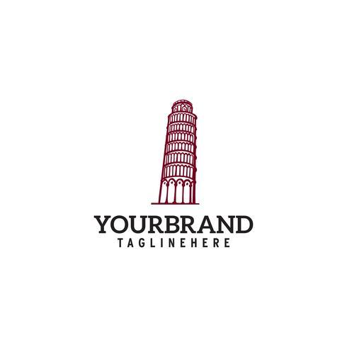 Torre di Pisa vector logo design