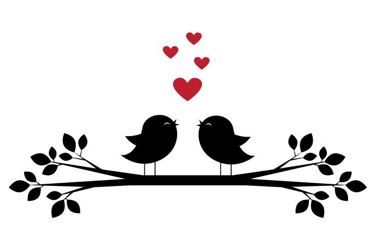 Sagome di uccelli carini cantano e cuori rossi
