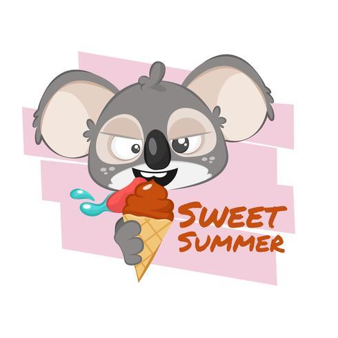 Illustration av koala som äter glass