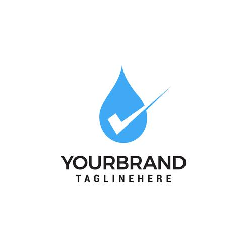 Modelo de logotipo de vetor de marca de verificação de gota de água