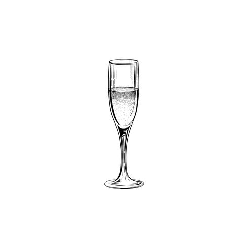 Drink champagne sign. Christmas party icon with wine glass. Hand