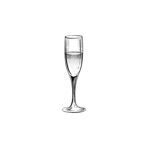 Bere segno di champagne. Icona della festa di Natale con un bicchiere di vino. Mano vettore