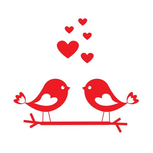 Liebesvögel mit roten Herzen - Karte für Valentinstag