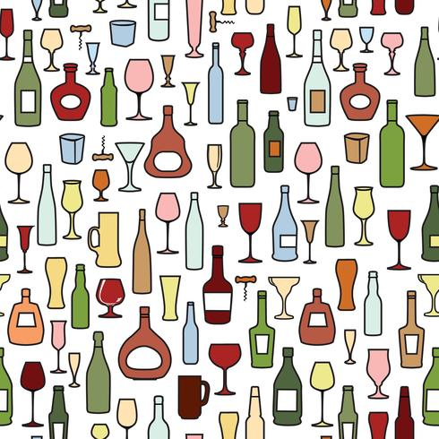 Wine bottle, wine glass tile pattern. Drink wine party background vector