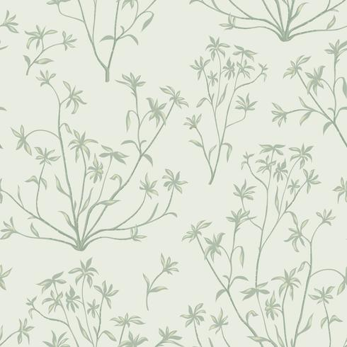 Floral leaves seamless pattern. Wild nature background. Flourish wallpaper with plants. vector