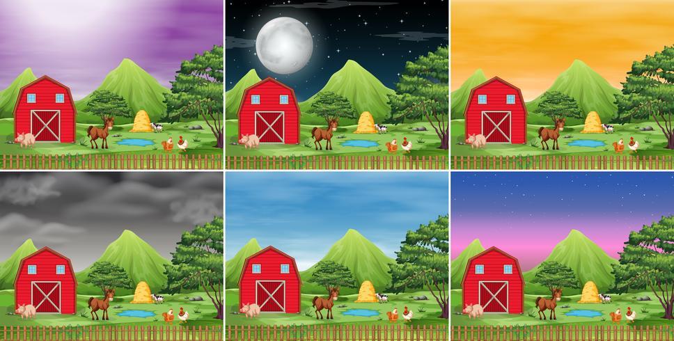 Conjunto de paisagem da fazenda vetor