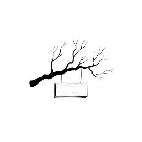 Wooden road sign on tree branch. Retro engraving plank signboard