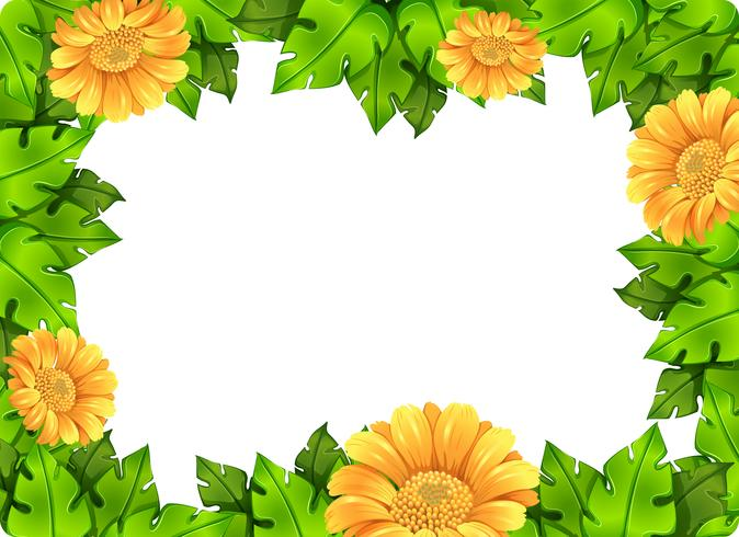 Yellow flower frame template vector