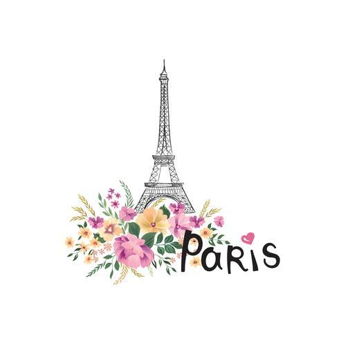 Fond de paris. Signe floral paris avec des fleurs, tour eiffel. Icône Voyage France