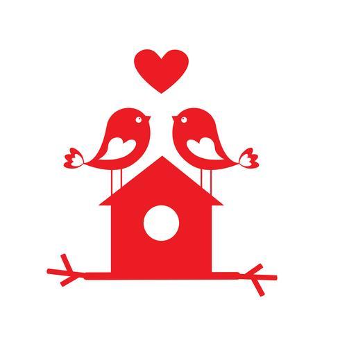 Leuke vogels in liefde en vogelhuisje - kaart voor Valentine-dag vector