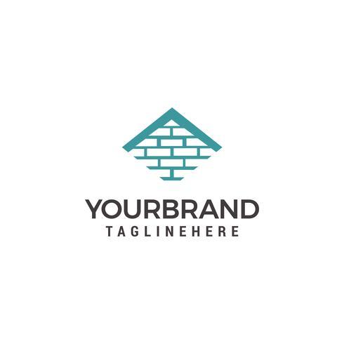 Modelo de logotipo de vetor para imobiliária ou empresa de construção. Ilustração do telhado da casa feita de tijolos