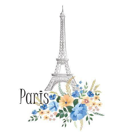 Parijs achtergrond. Het bloemen teken van Parijs met bloemen, de toren van Eiffel. vector