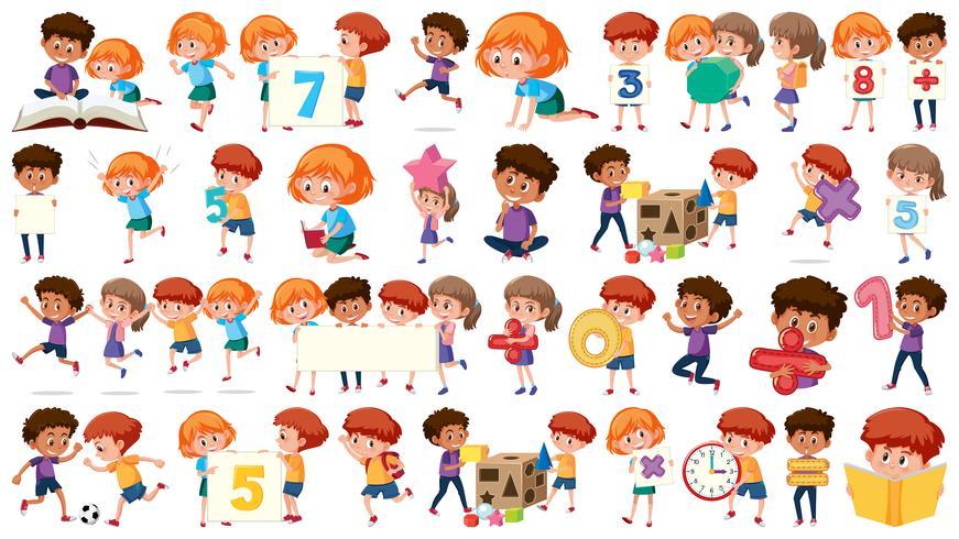 Conjunto de niños de matemáticas