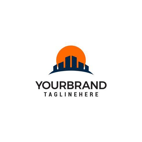 Gebouw zon onroerend goed Logo ontwerpsjabloon