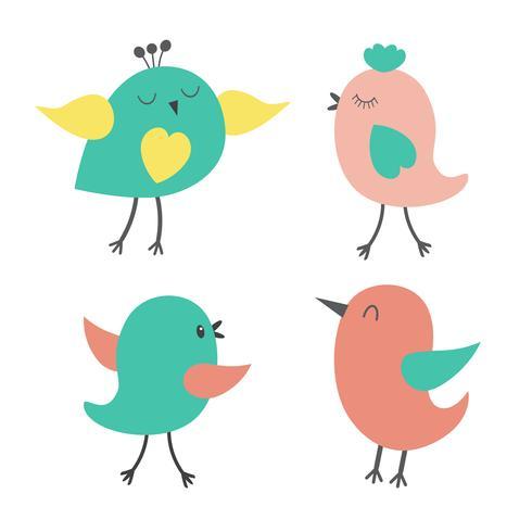 Conjunto de pássaros coloridos fofos - Download Vetores Gratis ...