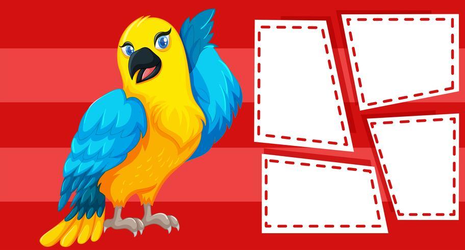 Papegaai op notitie sjabloon vector