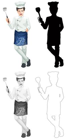 Set van kok karakter