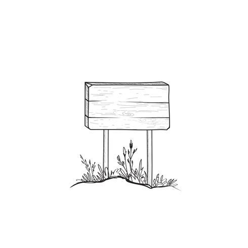Uithangbord schets. Doodle houten verkeersbord. Plank wegwijzer