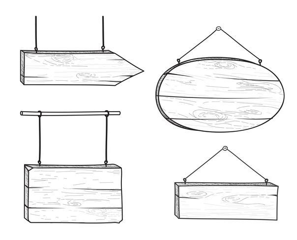 Ensemble de panneau de signalisation en bois élégant doodle et flèche. Panneau de planche rétro vecteur