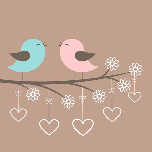Casal de pássaros fofos cantar vetor