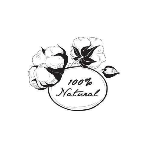 Etiqueta de algodón. Signo de material natural con cápsula de flor de algodón. Flo