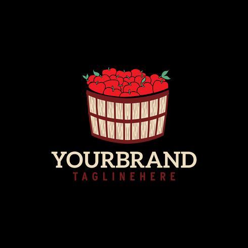 red apple basket farm harvest logo concept template vector