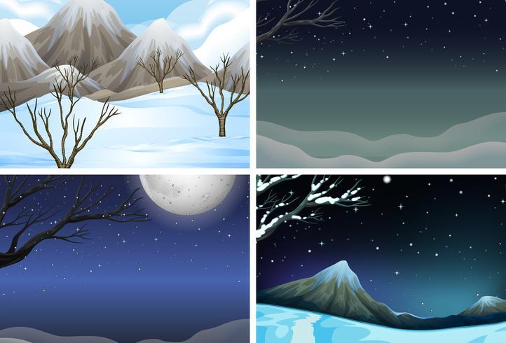 Set of night scene vector