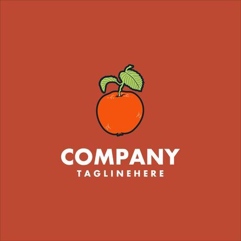 Concetto di design logo frutta arancione. vettore