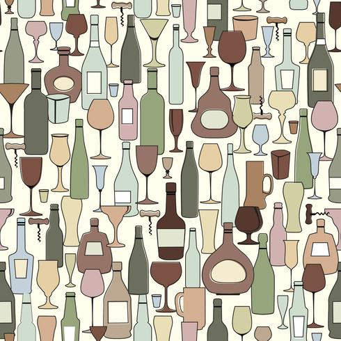 Wine bottle and wine glass seamless pattern. Drink wine bar tile vector