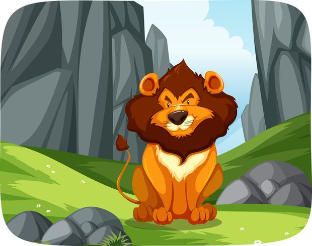 Leão na cena da natureza vetor