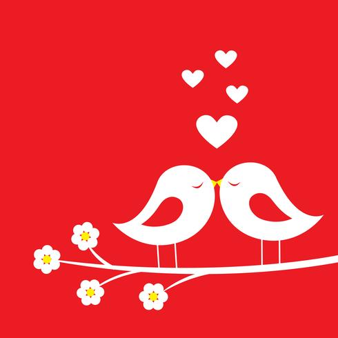 Kiss of birds - romantic card for Valentine's day vector