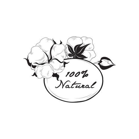 Etichetta di cotone Segno di materiale naturale con capsula di cotone. Flo